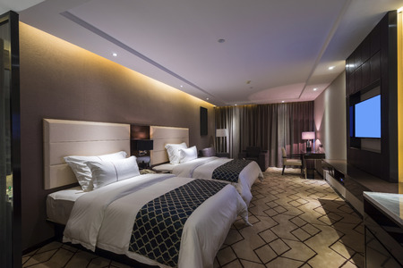 luxury hotel bedroom with nice decoration Standard-Bild