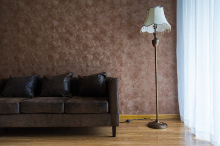 room decor: sofa and lamp on a living room