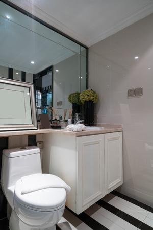 tap room: modern bathroom with nice decoration Stock Photo