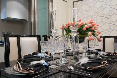 luxury room: the dining room with luxury decoration Stock Photo