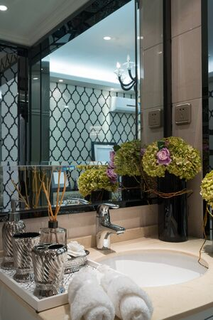 luxury bathroom: the hotel bathroom with luxury decoration Stock Photo