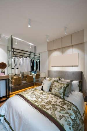 luxury bedroom: comfortable bedroom with luxury decoration Stock Photo