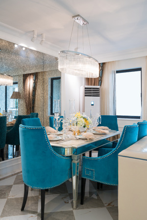 table lamp: dining room with nice decoration Stock Photo