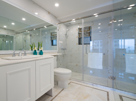 mirror on wall: the modern bathroom with nice decoration