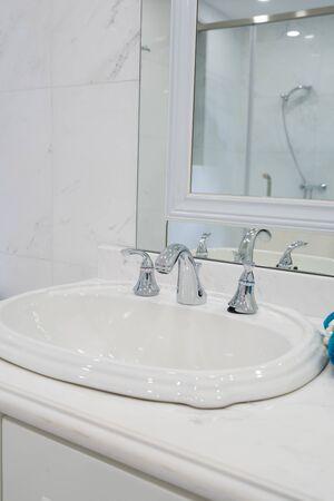 modern bathroom: sink in a modern bathroom Stock Photo