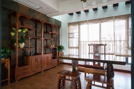 luxury study room with decoration of Chinese style Standard-Bild