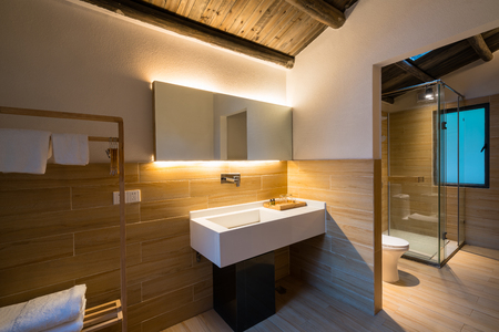modern bathroom in a hotel guest room