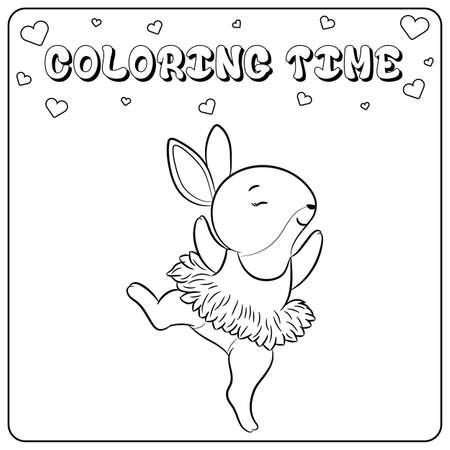 cute dancing pink bunny drawing