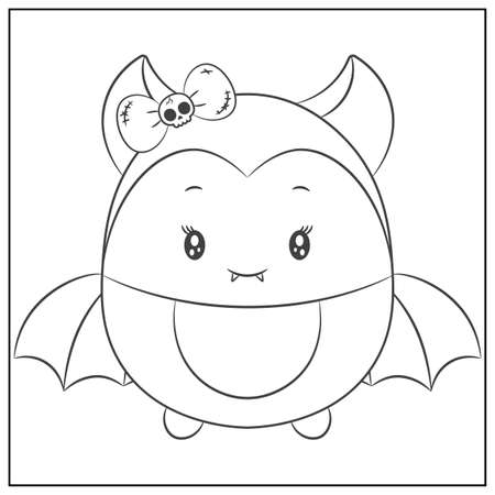 Halloween cute bat sketch drawing for coloring