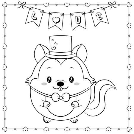 happy valentines day cute squirrel drawing sketch for coloring