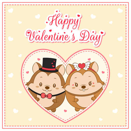 happy valentines day cute squirrel drawing post card with hearts