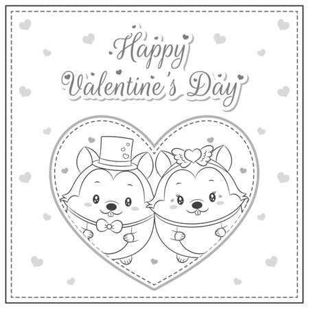 happy valentines day cute squirrel drawing post card big heart sketch for coloring Ilustração