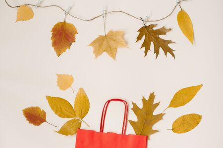 Autumn shopping with discounts. A red paper shopping bag with autumn yellow leaves peeking out of it. Copy space. Autumn sales. The thread on primako hanging leaves