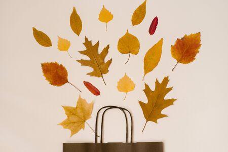 bright bouquet of autumn fallen leaves in a gift brown paper bag. Seasonal autumn sale. Prices fall Foto de archivo - 129923985