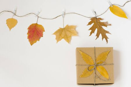 Autumn fallen leaves hang on a rope with clothespins on a light beige background and a gift craft box with a bow of twine. The concept of autumn discounts. Price fall and gifts. Copy space