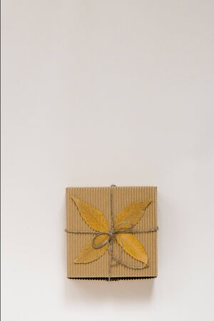 craft gift box, tied with string with a bow and autumn fallen leaves on a beige background. Birthday gift for people born in autumn. The view from the top. Copy space Foto de archivo - 129924040
