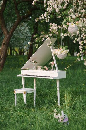 A white Grand piano stands in the flowering Apple orchards in the spring. Wedding or birthday decor romantic and delicate Stok Fotoğraf