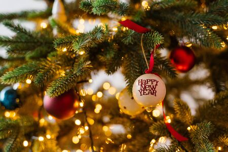Christmas tree toys on Christmas tree with lights