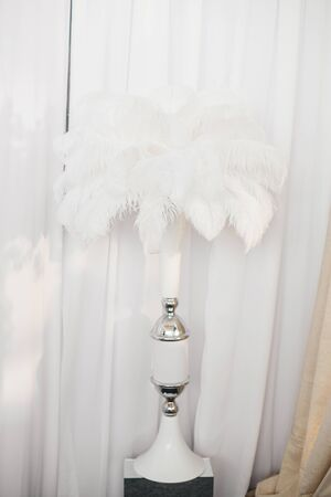 White vase with a bouquet of ostrich feathers in the decor of a holiday or wedding Фото со стока
