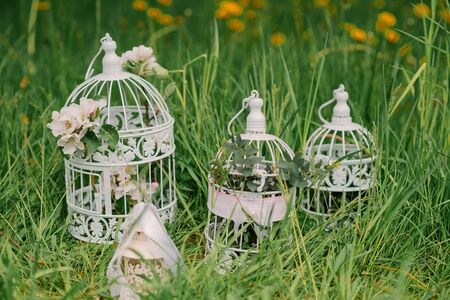Decorative cages with branches of a flowering Apple tree in the decor of a wedding or a romantic dinner. Element of wedding decoration photo zone
