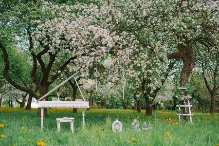 Decorative white stepladder and white Grand piano in a blooming garden in spring. Romantic decor for a Birthday or wedding, photo zone Фото со стока