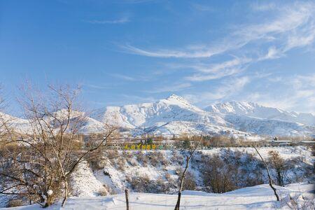 The village of Chimgan in Uzbekistan in winter. Tien Shan mountain system