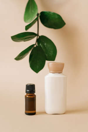 Natural organic cosmetics with plant extracts. Two bottles of face and body care products. Archivio Fotografico