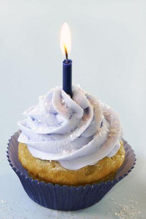 Blue bithday cupcake                   Stock Photo