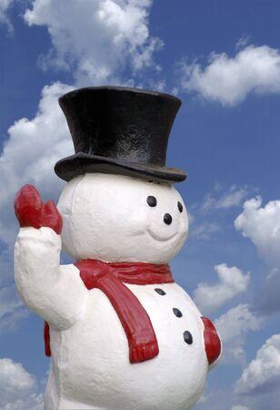 papier mache: Mu�eco de nieve