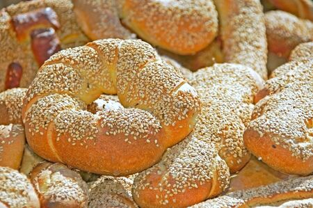 Italian bread with sesame seeds                    Stock Photo