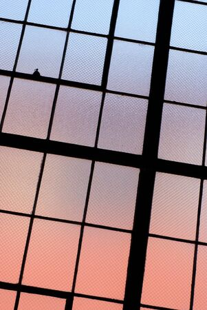 Colorful warehouse window                    Stock Photo