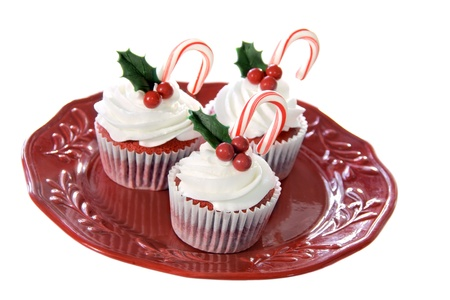 Christmas decorated red velvet cupcakes