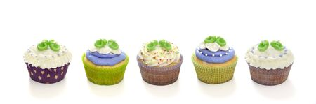 green lines: Baby shower cupcakes Stock Photo