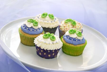 Baby shower cupcakes in purple and green                    photo