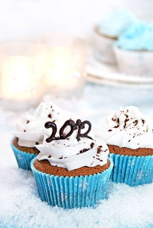 Wintery cupcakes to celebrate the New Year 2012 Imagens - 9648586