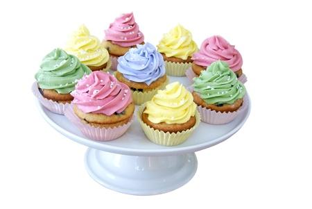 trays: Cupcakes een cakestand Stockfoto