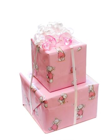 Gift tower for the baby girl                   Stock Photo