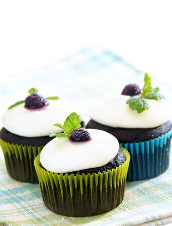 Dark chocolate cupcakes with white chocolate ganache frosting, decorated with a blueberry and mint leaf.