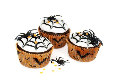 Chocolate cupcakes decorated for Halloween                  photo