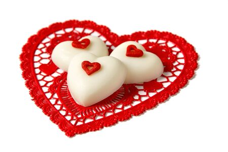 White chocolate hearts                  Stock Photo