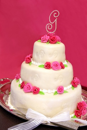 Wedding cake covered in Marzipan