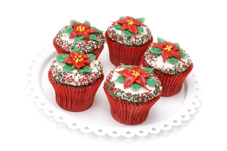 Chocolate cupcakes decorated with Poinsettias Stock Photo - 12359602