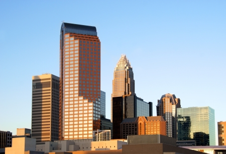Charlotte, North Carolina, skyline in the afternoon sun.                 Imagens