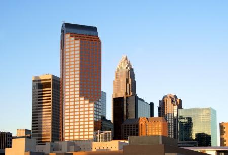Charlotte, North Carolina, skyline in the afternoon sun.                 Stock Photo