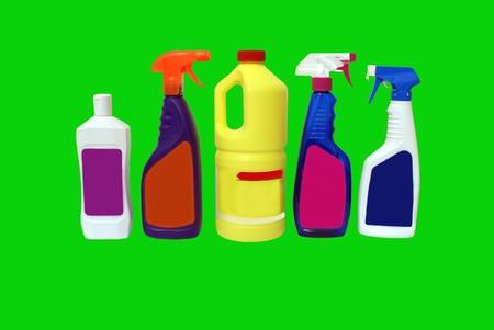 schoonmaakartikelen: reinigingsmiddelen Stockfoto