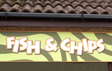 fish and chips: Fish  chips sign. fast food store Stock Photo