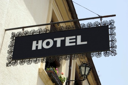 hotel sign: hotel sign. hotel