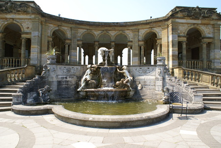 kent: sculptured fountain. Hever castle garden in Kent England Editorial