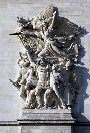europe closeup: sculpture closeup Arc de Triomphe in Paris France Europe