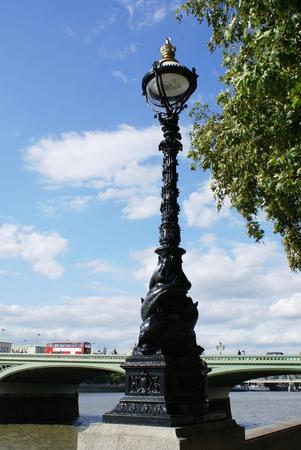 westminster bridge: sculptured lamp Westminster bridge London England